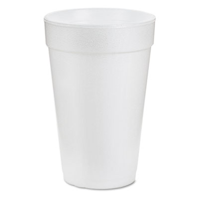 Drink Foam Cups, 16oz, White, 25/Bag, 40 Bags/Carton
