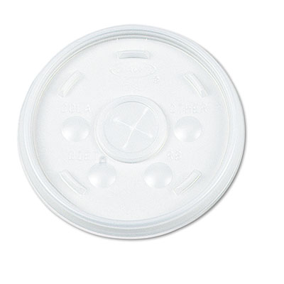Plastic Lids, for 16oz Hot/Cold Foam Cups, Slip-Thru Lid, White,