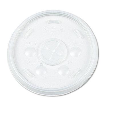 Plastic Lids, for 16oz Hot/Cold Foam Cups, Slip-Thru Lid, White,