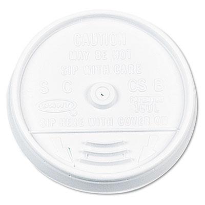 Plastic Lids, for 16oz Hot/Cold Foam Cups, Sip-Thru Lid, White,