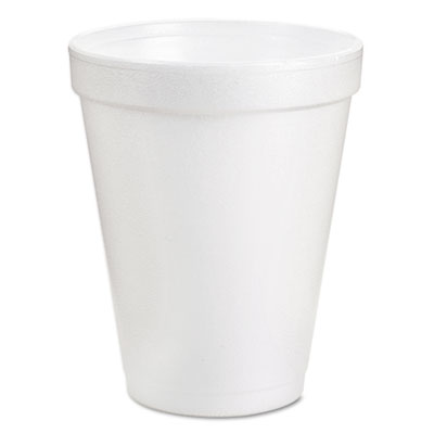 Drink Foam Cups, 6oz, White, 25/Bag, 40 Bags/Carton
