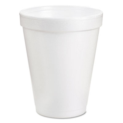 Drink Foam Cups, 8oz, White, 25/Bag, 40 Bags/Carton