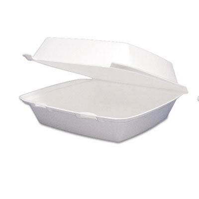 Carryout Food Container, Foam Hinged 1-Comp, 9 1/2 x 9 1/4 x 3,