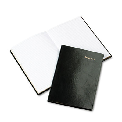 Bonded Leather Journal, Black, 160 Gold-Edged Pages, 5 1/2 x 7 3