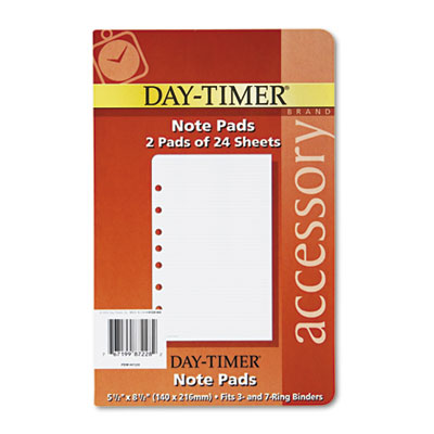 Lined Note Pads for Organizer, 5-1/2 x 8-1/2, 48 Sheets/Pack