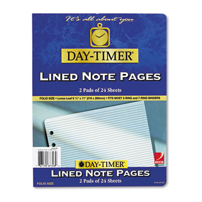 Lined Note Pads for Organizer, 8-1/2 x 11, 48 Sheets/Pack