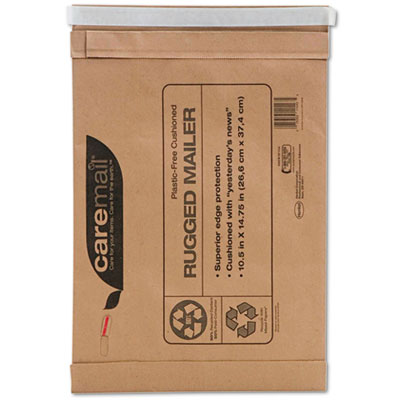 Caremail Rugged Padded Mailer, Side Seam, 14 x 18 3/4, Light Bro
