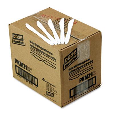 Plastic Cutlery, Mediumweight Knives, White, 1000/Carton