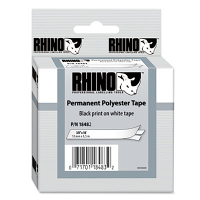 Rhino Permanent Poly Industrial Label Tape Cassette, 3/8in x 18ft, White