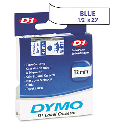 D1 Standard Tape Cartridge for Dymo Label Makers, 1/2in x 23ft, Blue on White
