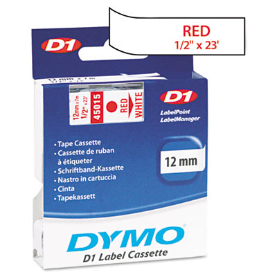 D1 Standard Tape Cartridge for Dymo Label Makers, 1/2in x 23ft, Red on White