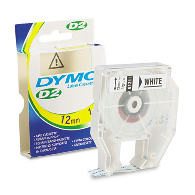 D2 Tape Cassette for Dymo Labelmakers 9000, 6000, PC-10, 1/2in x 32ft, White