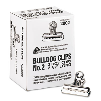 "Bulldog Clips, Steel, 1/2"" Capacity, 2-1/4""w, Nickel-Plated, 36/"