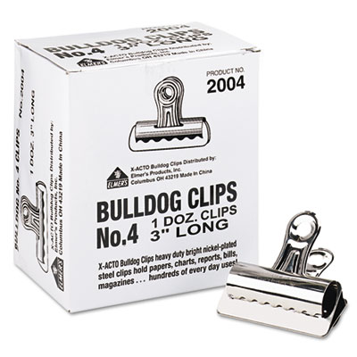 "Bulldog Clips, Steel, 1"" Capacity, 3""w, Nickel-Plated, 12 per Bo"