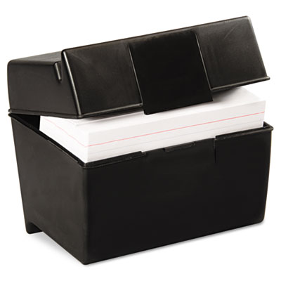 Plastic Index Card Flip Top File Box Holds 400 4 x 6 Cards, Matt