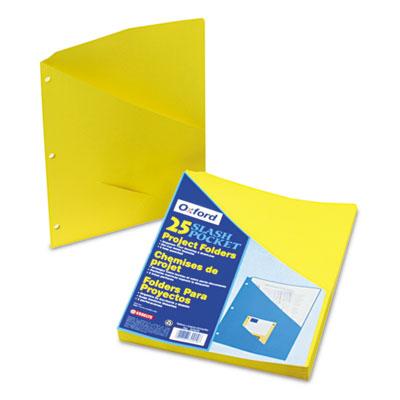 Essentials Slash Pocket Project Folders, 3 Holes, Letter, Yellow