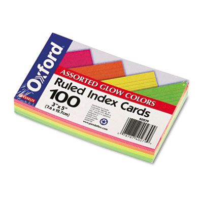 Ruled Index Cards, 3 x 5, Glow Green/Yellow, Orange/Pink, 100/Pa