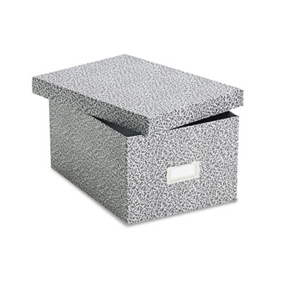 Card File with Lift-Off Lid Holds 1,200 5 x 8 Cards, Black/White