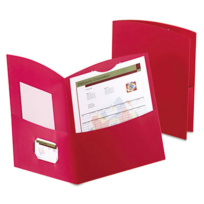 Contour Two-Pocket Folder, Recycled Paper, 100-Sheet Capacity, R