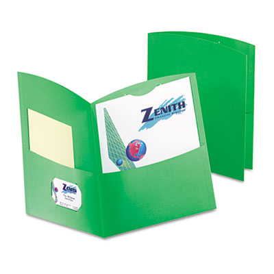 Contour Two-Pocket Recycled Paper Folder, 100-Sheet Capacity, Gr