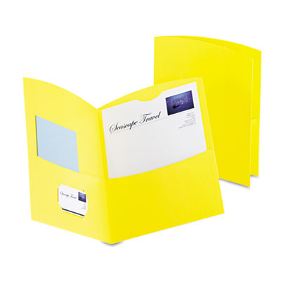 Contour Two-Pocket Recycled Paper Folder,  100-Sheet Capacity, Y
