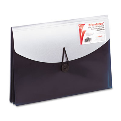 Four-Pocket Slide File Wallet, Letter, Polypropylene, Blue/Silve
