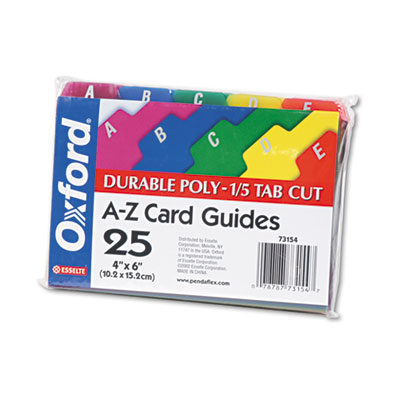 Card Guides, Alpha, 1/5 Tab, Polypropylene, 4 x 6, 25/Set