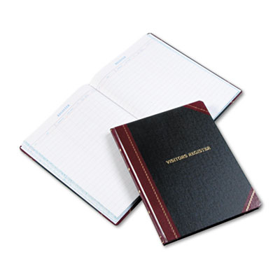 Visitor Register Book, Black/Red Hardcover, 150 Pages, 14 1/8 x