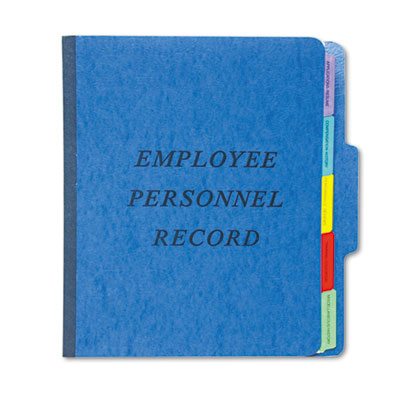 Vertical Personnel Folders, 1/3 Cut Top Tab, Letter, Blue