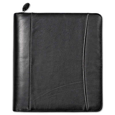 Nappa Leather Ring Bound Organizer w/Zipper, 11-1/4 x 12 1/2, Bl
