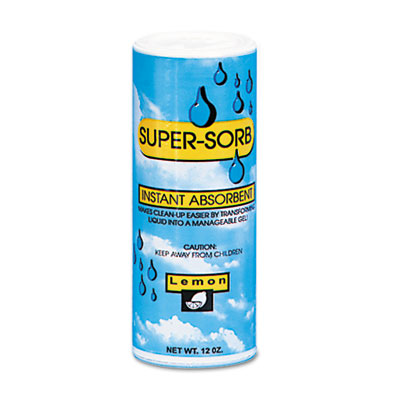 Supersorb Liquid Spills Absorbent, 12oz Shaker Can