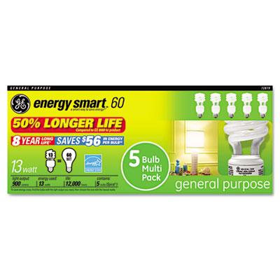 Compact Fluorescent Bulb, 13 Watt, T3 Spiral, Soft White, 5/Pack
