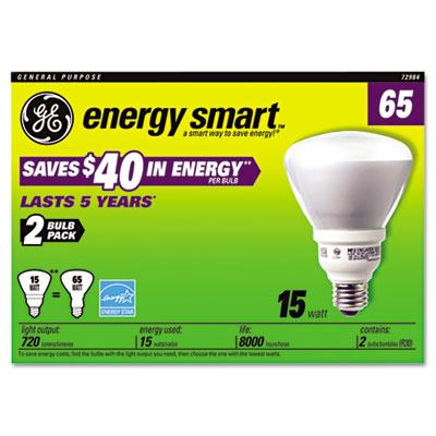 Compact Fluorescent Bulb, 15 Watt, R30 Reflector, Soft White, 2/