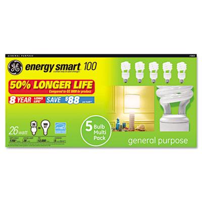 Compact Fluorescent Bulb, 26 Watt, T3 Spiral, Soft White, 5/Pack