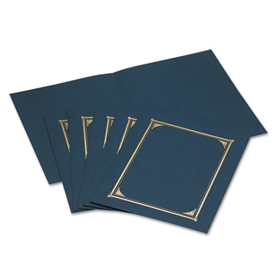 Certificate/Document Cover, 12-1/2 x 9-3/4, Navy Blue, 6/Pack