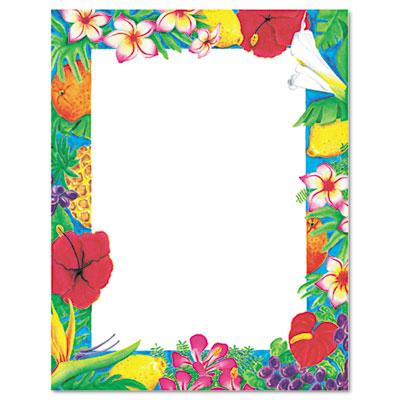 Design Paper, 24 lbs., Luau, 8-1/2 x 11, White, 100/Pack