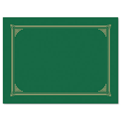 Certificate/Document Cover, 12-1/2 x 9-3/4, Green, 6/Pack