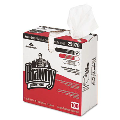 Heavy-Duty Shop Towels, Cloth, 9 1/10 x 16 1/2, 100/Box