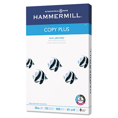 Copy Plus Copy Paper, 92 Brightness, 20lb, 8-1/2 x 14, White, 50