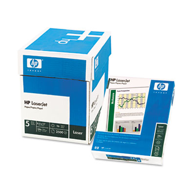 LaserJet Paper, Ultra White, 97 Bright, 24lb, Letter, 2500 Sheet