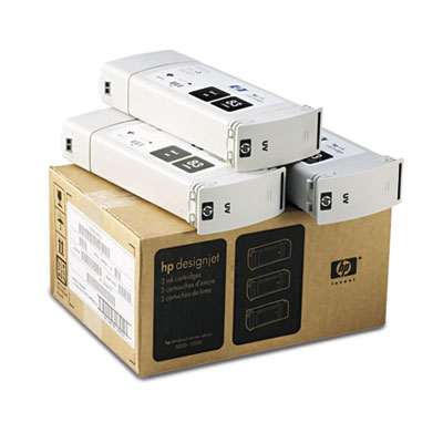 C5072A (HP 83) Ink Cartridge, 1312 Page-Yield, 3/Pack, Black