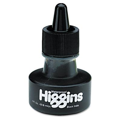 Higgins Waterproof India Ink for Art/Technical Pens, Black, 1 oz