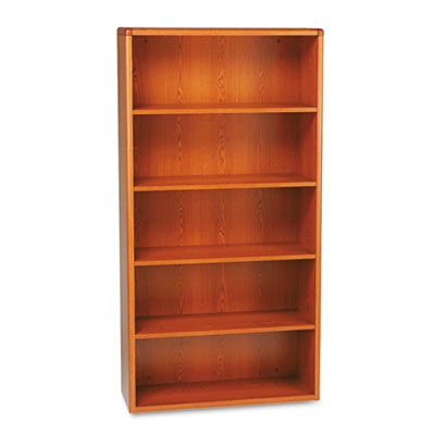 10700 Series Wood Bookcase, Five-Shelf, 36w x 13-1/8d x 71h, Hen