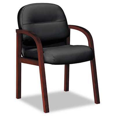 2190 Pillow-Soft Wood Series Guest Arm Chair, Mahogany/Black Lea