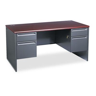 38000 Series Double Pedestal Desk, 60w x 30d x 29-1/2h, Mahogany