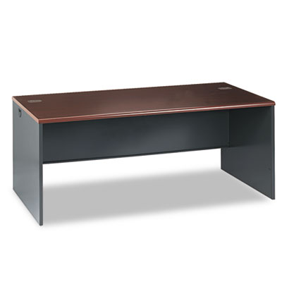 38000 Series Desk Shell, 72w x 36d x 29-1/2h, Mahogany/Charcoal