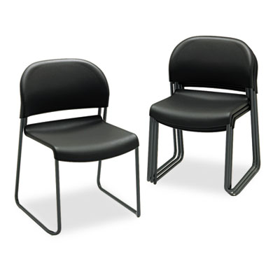 GuestStacker Series Chair, Black with Black Finish Legs, 4/Carto