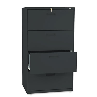 500 Series Four-Drawer Lateral File, 30w x 19-1/4d x 53-1/4h, Bl
