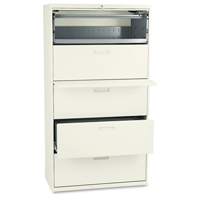 500 Series Five-Drawer Lateral File, 36w x 19-1/4d x 67h, Putty