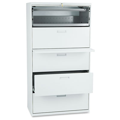 500 Series Five-Drawer Lateral File, 36w x 19-1/4d x 67h, Light